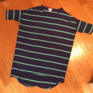 XXS LuLaRoe Striped Navy & Green Shirt